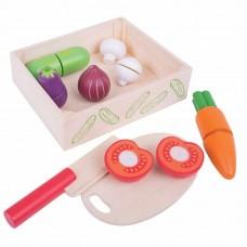 Κουτί με ξύλινα λαχανικά Bigjigs BJ473