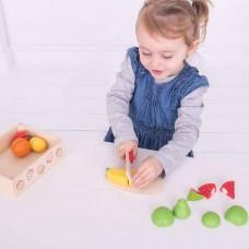 Κουτί με ξύλινα φρούτα και μαχαίρι Bigjigs BJ472