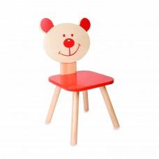 Classic World Ξύλινη παιδική καρέκλα κόκκινη Αρκούδος CL4802