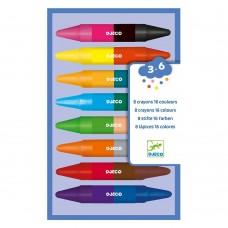 8 Διπλές Κηρομπογιές - 16 Χρώματα Djeco 08874