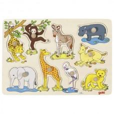 Ξύλινο Παζλ-Ενσφηνώματα Ζώα Αφρικής Μωρά Goki 57829