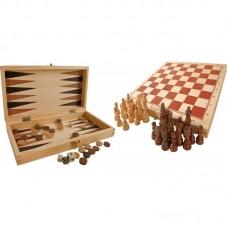 Ξύλινο Σκάκι-Ντάμα-Τάβλι Legler 3453
