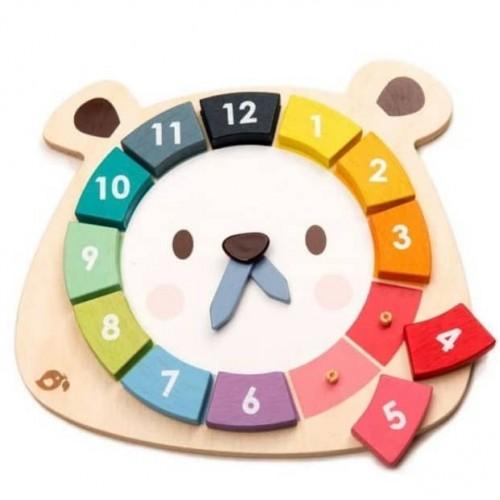 Ξύλινο Εκπαιδευτικό Ρολόι Αρκουδάκι Tender Leaf 4608408