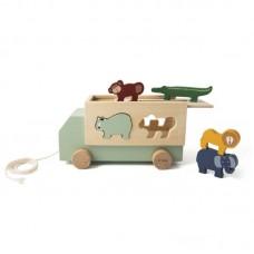 Συρόμενο Ξύλινο Φορτηγό με Ζωάκια Trixie 77363